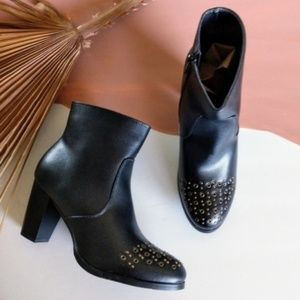 NEW Vegan Leather Studded Block Heel Ankle Boots